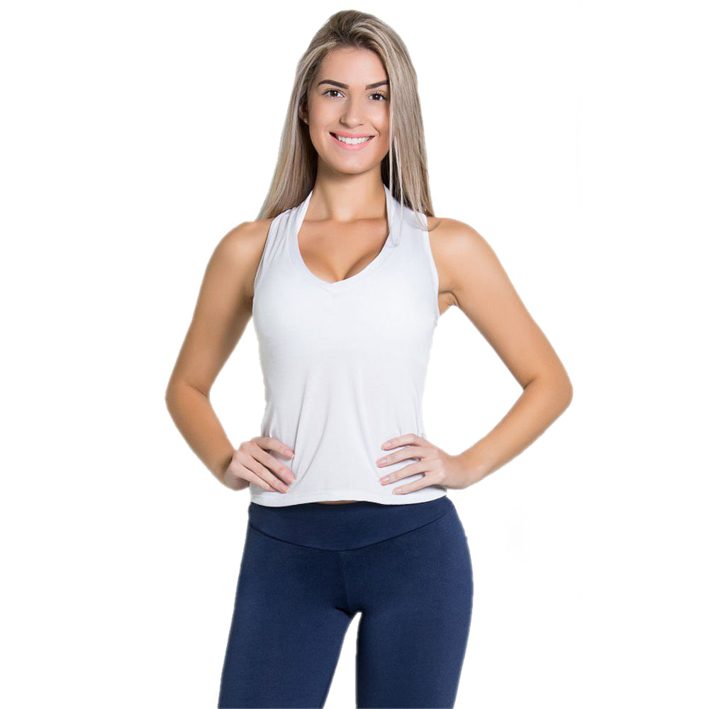 Camiseta Fitness Dry Fit Lisa Branco - Moda Fitness Maçã de Eva