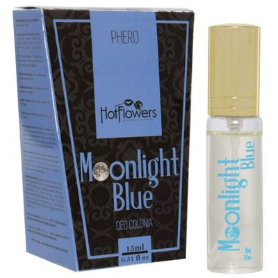 Deo Colônia Unissex Moonlight Blue Phero Hot Flowers - 15ml - Sex Shop Maçã de Eva