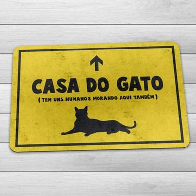 Capacho Eco 3mm Casa do Gato - 60x40cm - Loja Geek Maçã de Eva