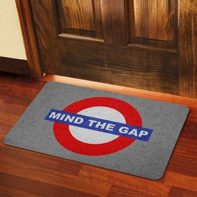 Capacho Eco Slim 3mm Londres Mind The Gap - 60x40cm - Loja Geek Maçã de Eva