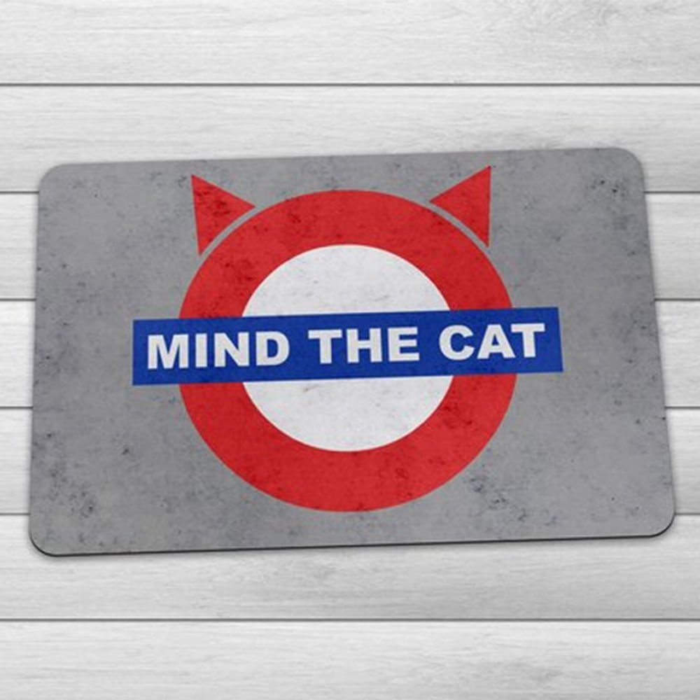 Capacho Eco Slim 3mm Mind The Cat - 60x40cm - Loja Geek Maçã de Eva