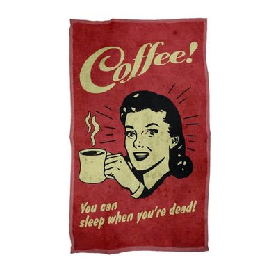 Pano Decorativo Multiuso Coffee You can sleep when you are dead 29 x 49cm - Loja Geek Maçã de Eva