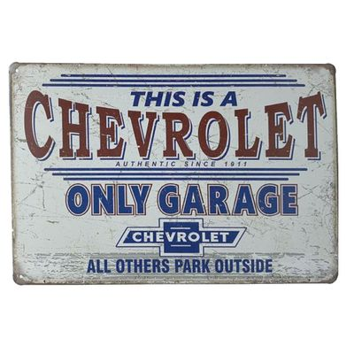 Placa de Metal Chevrolet Only Garage - 30 x 20 cm - Loja Geek Maçã de Eva