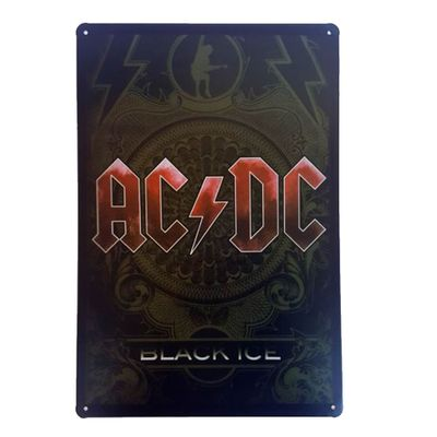 Placa de Metal Decorativa ACDC Black Ice - 30 x 20 cm - Loja Geek Maçã de Eva