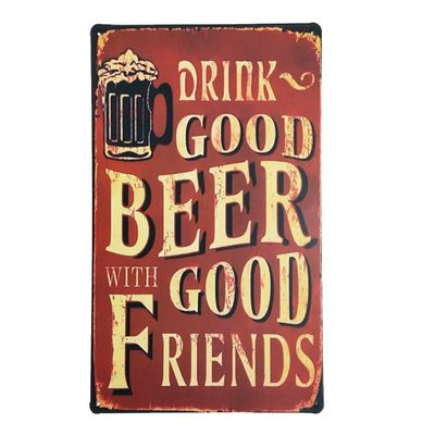 Placa de Metal Decorativa Good Beer with Good Friends - 30 x 20 cm - Loja Geek Maçã de Eva