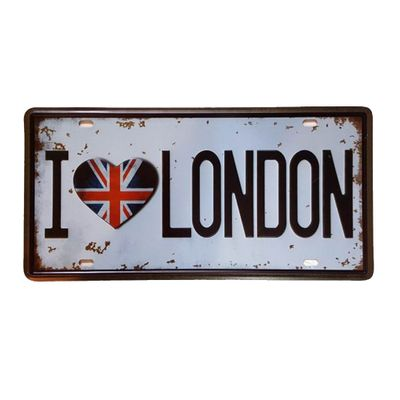 Placa de Metal Decorativa I Love London - 30,5 x 15,5 cm - Loja Geek Maçã de Eva