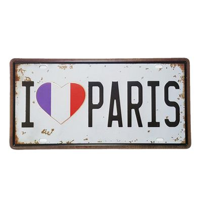 Placa de Metal Decorativa I Love Paris - Loja Geek Maçã de Eva