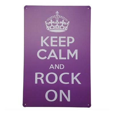 Placa de Metal Decorativa Keep Calm Rock on - Loja Geek Maçã de Eva