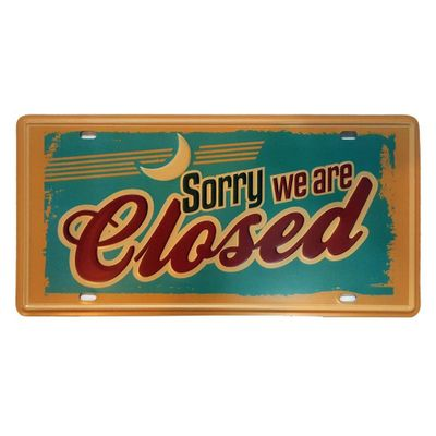 Placa de Metal Decorativa Sorry we are Closed - 30,5 x 15,5 cm - Loja Geek Maçã de Eva