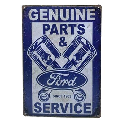 Placa de Metal Ford Genuine Parts and Service - 30 x 20 cm - Loja Geek Maçã de Eva