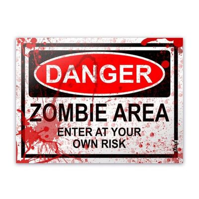 Placa - Danger Zombie Area - BLOOD EDITION - 20 x 15 cm - Loja Geek Maçã de Eva