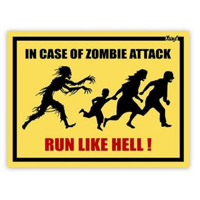 Placa In Case Of Zombie Attack Run Like Hell - 20 x 15 cm Loja Geek Maçã de Eva