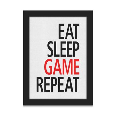 Quadro A4 Gamer Eat Sleep Game Repeat - 21 x 30 cm - Loja Geek Maçã de Eva